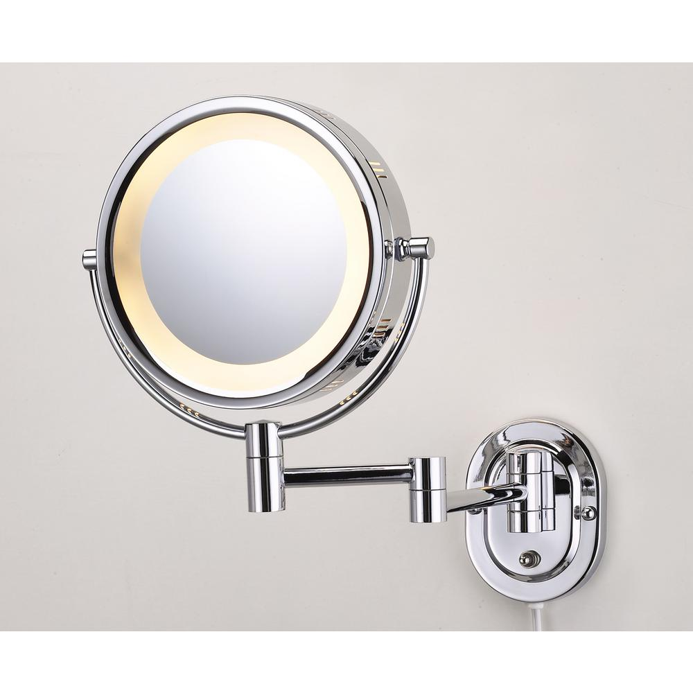 Jerdon 10 In X 14 In Lighted Wall Makeup Mirror In Chrome Hl65cd The Home Depot Wall Mounted Makeup Mirror Makeup Mirror With Lights Lighted Wall Mirror