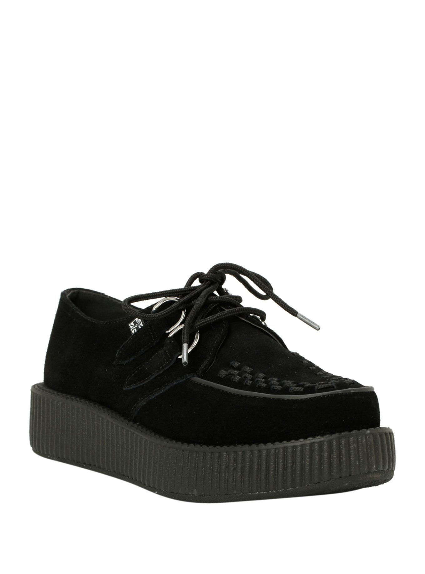 340bde57a01 T.U.K. Black Suede Low Sole Viva Creepers