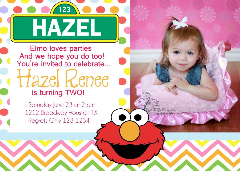 Elmo Birthday Invitation Sesame Street Invitation Pink