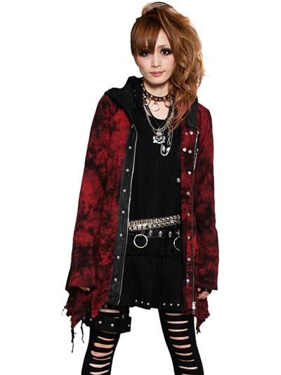 GRUNGE PUNK Opal Parka (M) SB08218103 is part of Clothes Grunge Punk - Parka features dyed and distressed fabrics  Also features cool synthetic leather, studs and zipper