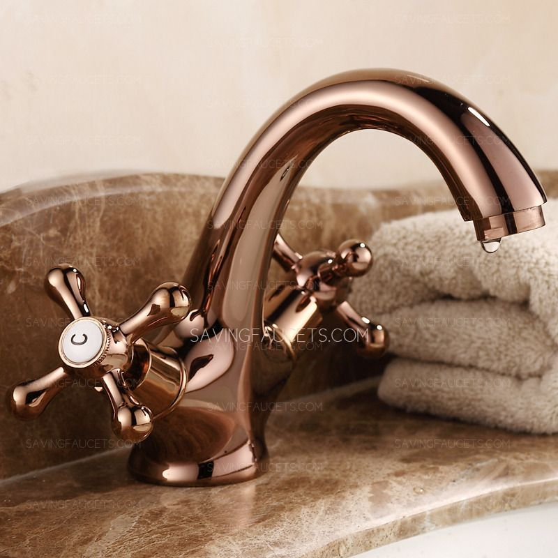 Vintage Rose Gold Two Handles Single Hole Bathroom Faucets 89 99