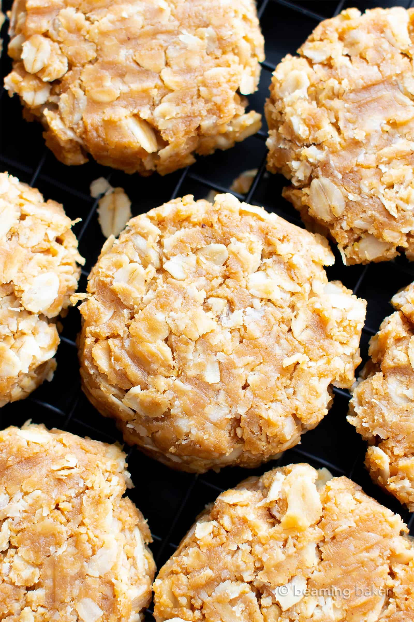 3 Ingredient No Bake Peanut Butter Oatmeal Cookies Healthy Vegan