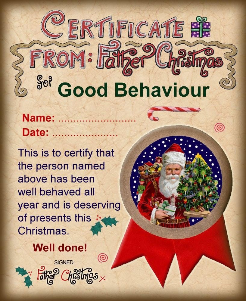 Good Behaviour Certificate rooftoppost.co.uk Christmas