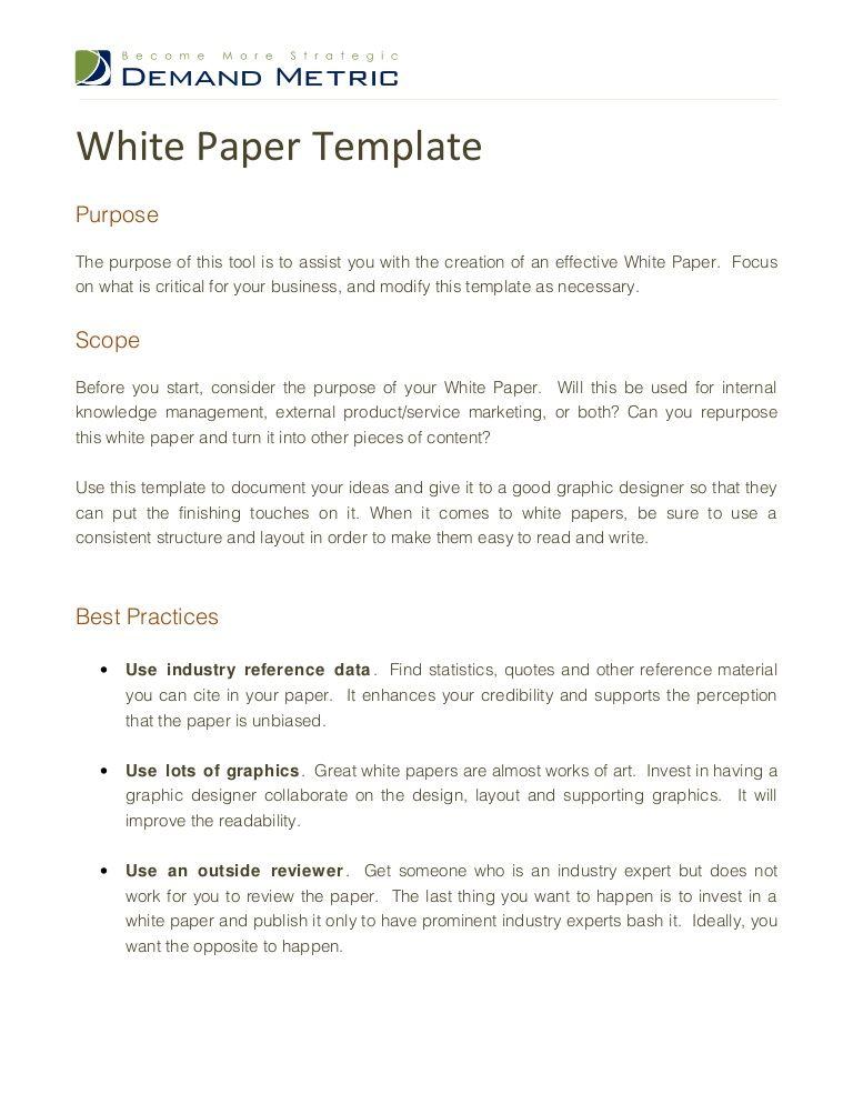 White Paper Template 13250638 By Demand Metric Via Slideshare