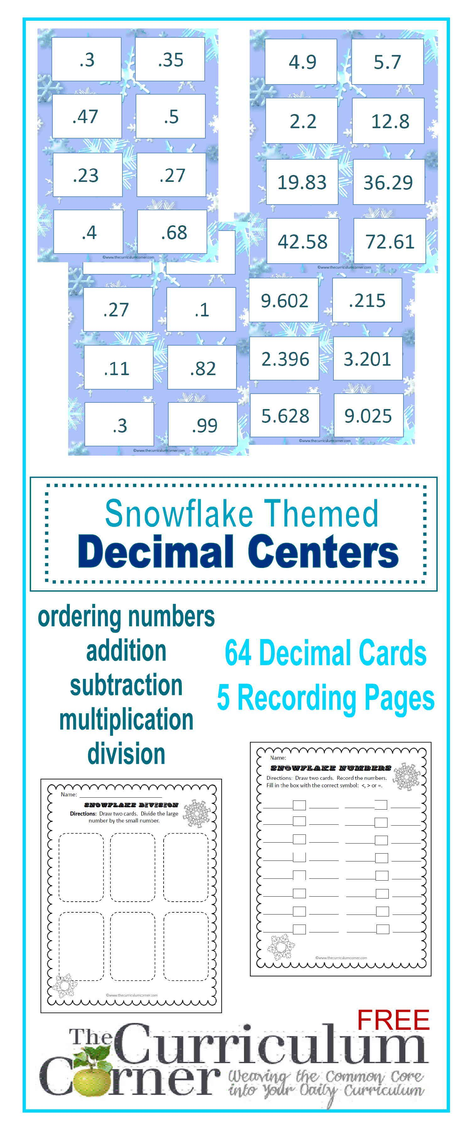 Decimal Centers | Snowflake Themed | Montessori.Maths | Pinterest ...