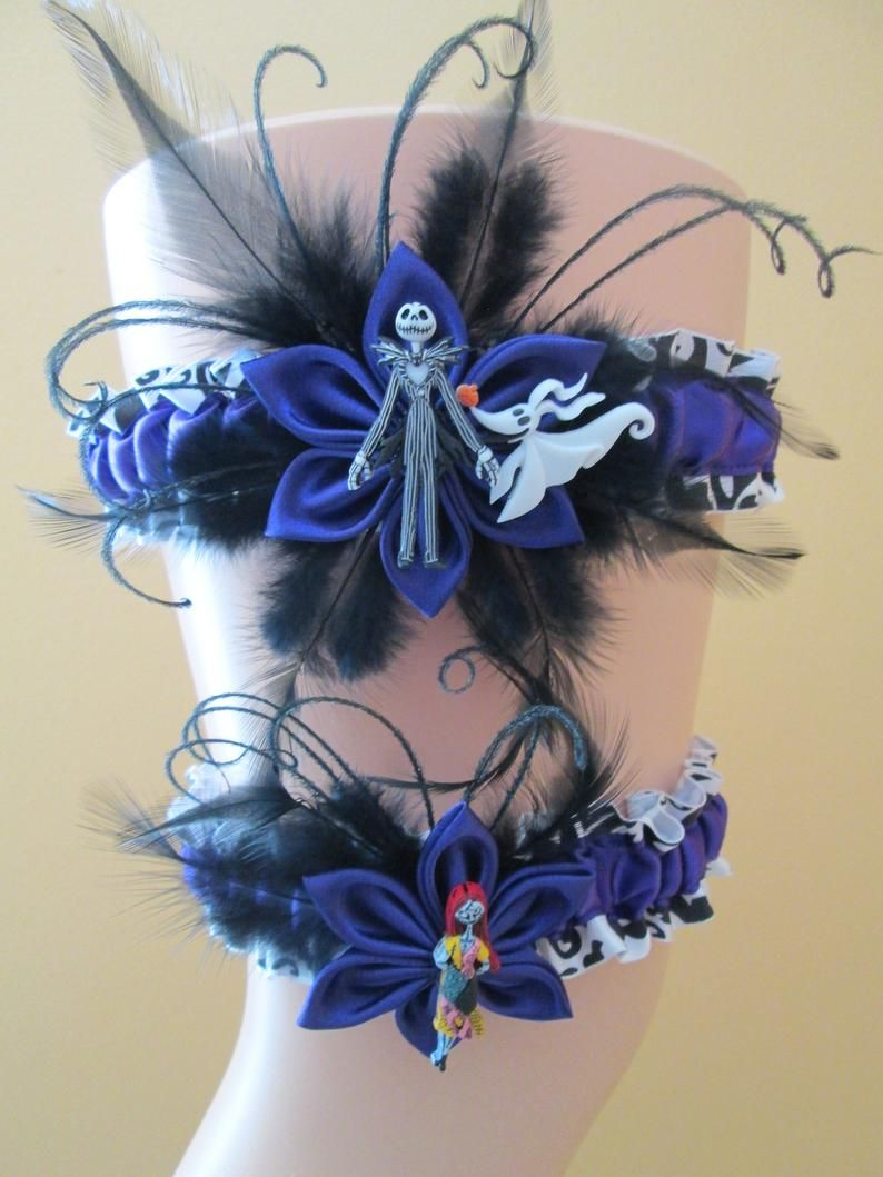 Purple and Black Wedding Garters, Nightmare Before ...