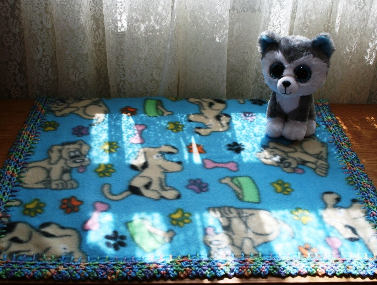 Blue Puppy Dogs 18x18 Crochet Edge Fleece Baby Doll Blanket, #18-39 by MonaSewingTreasures on Etsy