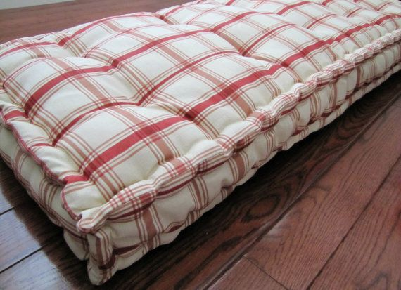 Custom Bench Cushion Red Plaid Window Seat Cushion French Mattress