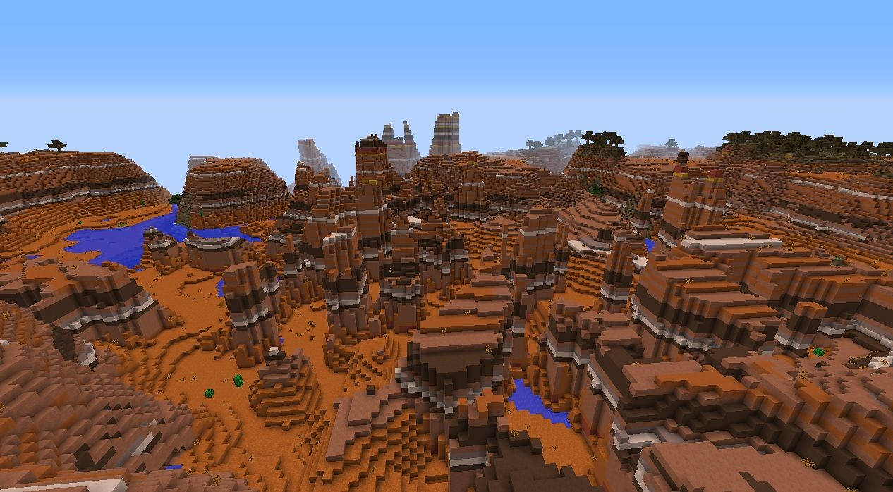 Minecraft 12.12.12 bryce seed with mesa biome and forest plateau