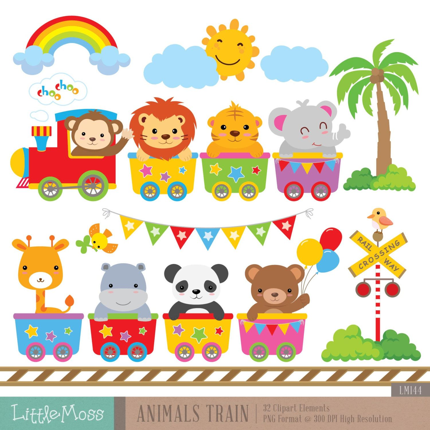 Wild Animals Train Digital Clipart Kawaii