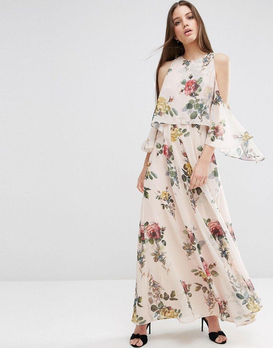 Image 4 ofASOS Extreme Cold Shoulder Floral Maxi Dress