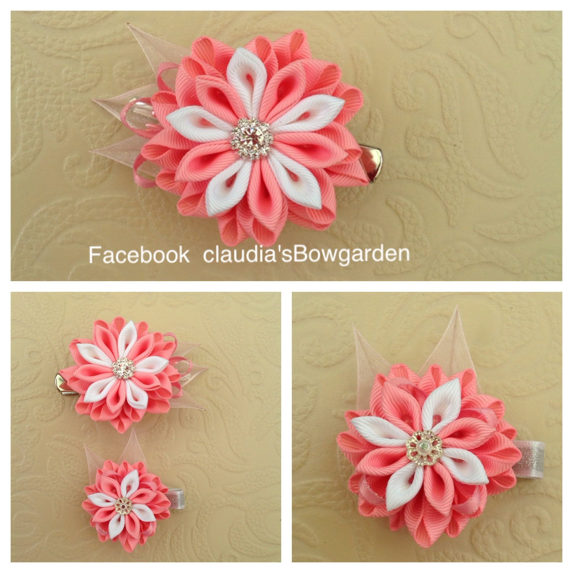 Pink and white flowers made from ribbon.kanzashi flower.