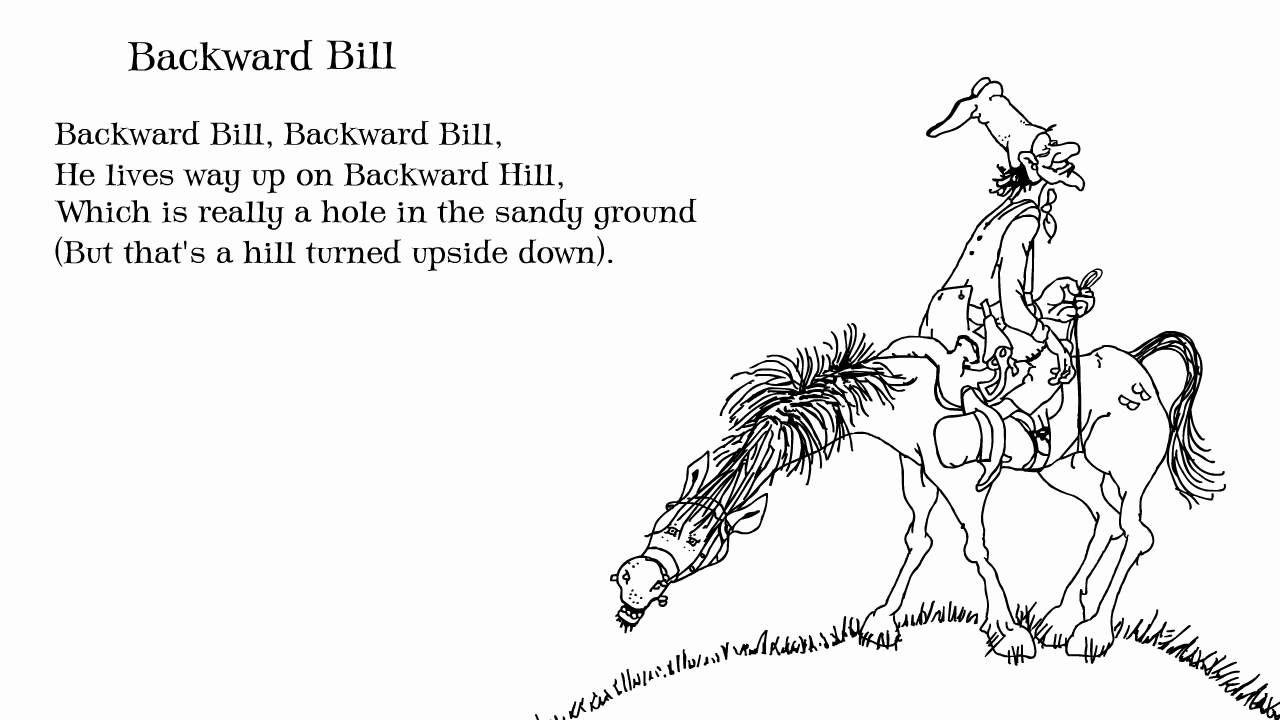 Shel Silverstein Backward Bill From A Light In The Attic I Had