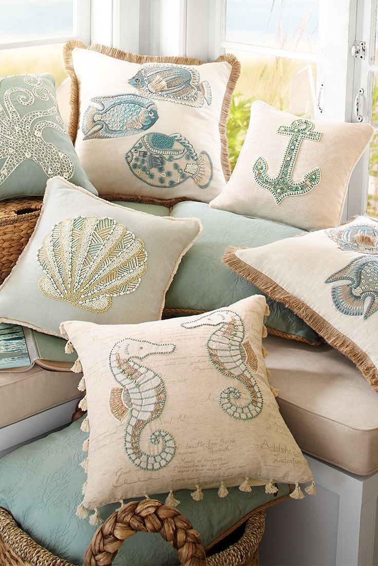 beach pillows pillow lumbar design nautiluslumbar indoor shell cotton nautilus beaded rightside