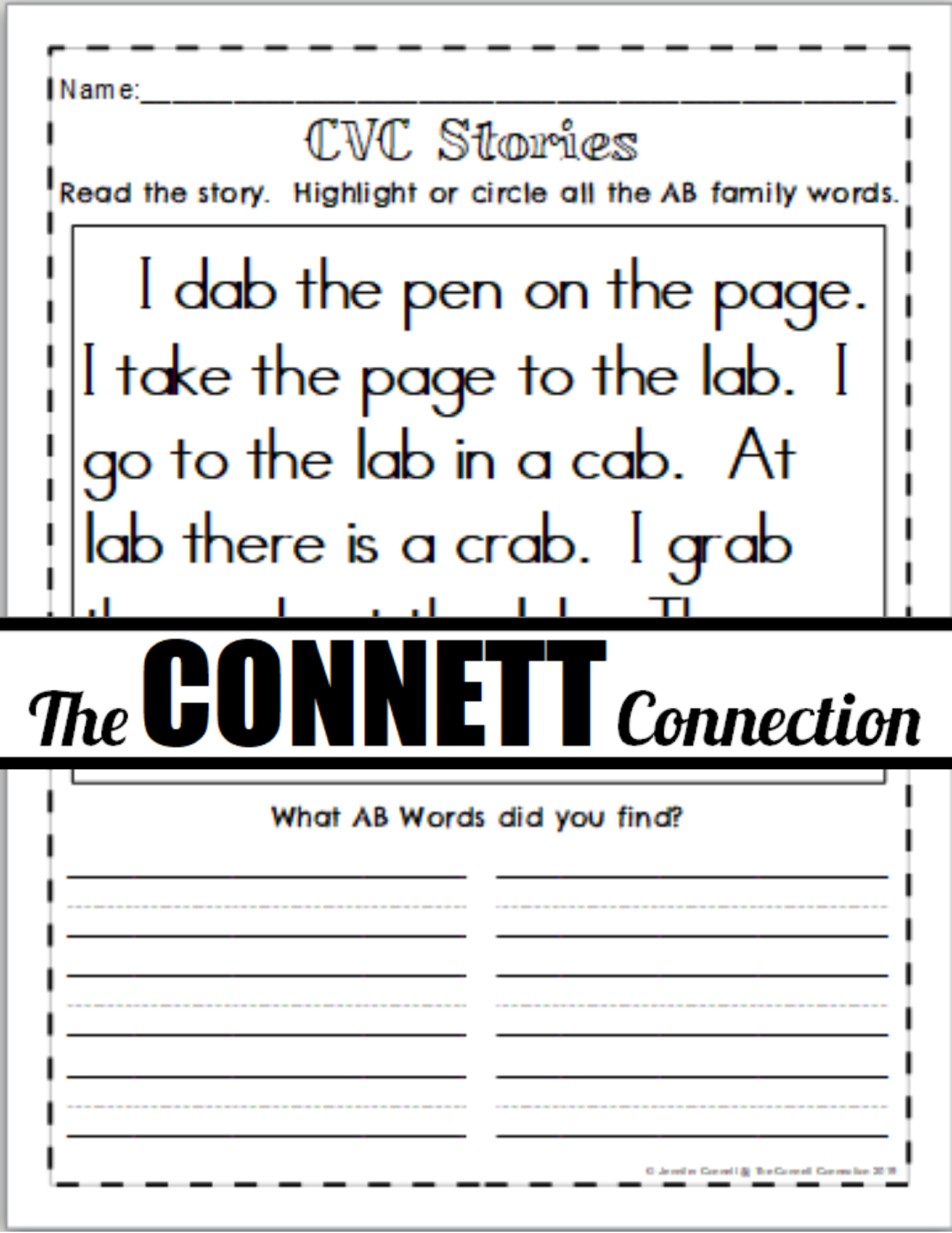 Ab Word Family Fun Sheets In