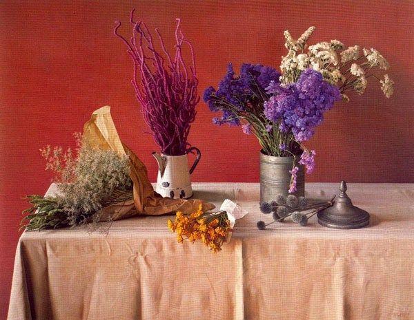 Flores secas - Pintura de Claudio Bravo Claudio Bravo Still Life - flores secas