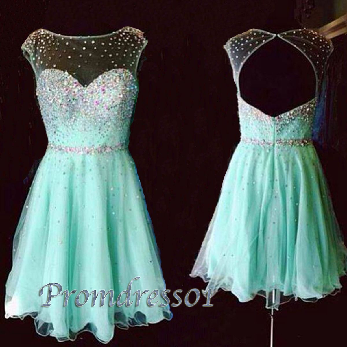 2015 elegant short green modest backless tulle prom dress, winter ...