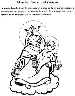 El Rincon De Las Melli Nuestra Senora Del Carmen Jesus Para Colorear Dibujos Colorear Ninos Imagenes Religiosas