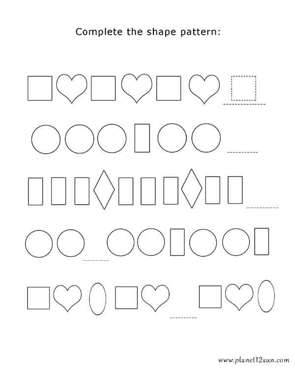 Complete The Shape Pattern Worksheets Free Worksheets For