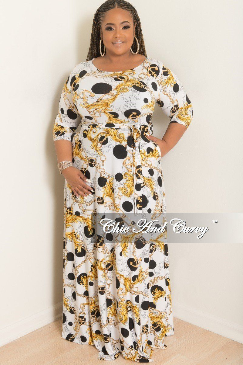 784232ee9807f8 Plus Size Polka Dot Chain Printed Long Pocket Dress with – Chic And Curvy