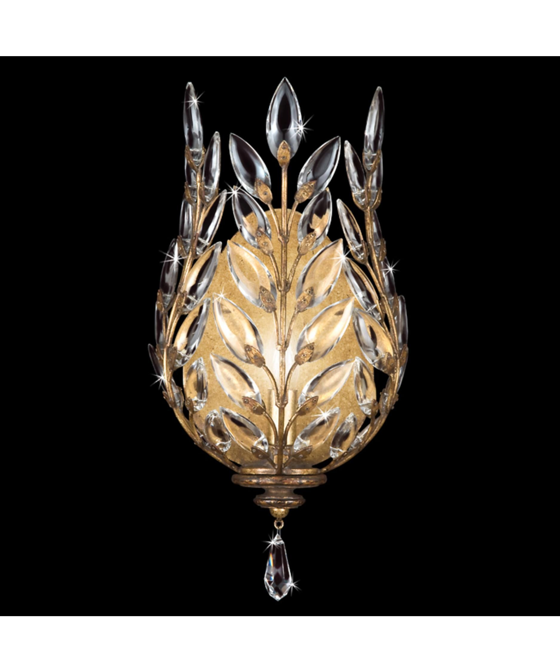 Fine Art Lamps Crystal Laurel Gold 8 Inch Wall Sconce