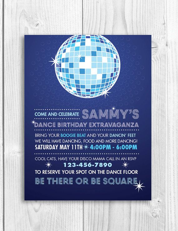 Printable Birthday Party Invitation DISCO DANCE PARTY love the – Clever Party Invitations
