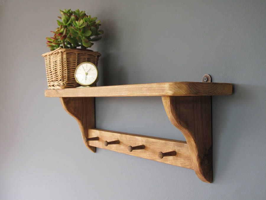 Vintage Country Shelf With Wooden Pegs By Seagirl And Magpie Notonthehighstreet Com Small Wooden Shelf Wooden Shelves Country Kitchen Shelves
