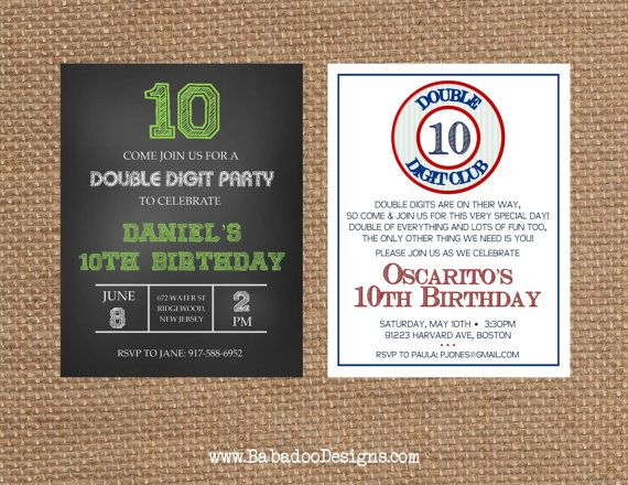 NUMBER + 10th + DOUBLE DIGIT Birthday + Anniversary Invitation - fresh birthday invitation of my son