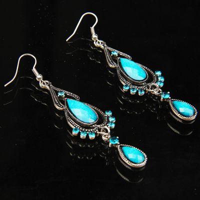 [$2.88] Elegant Imitation Gemstone Droplets Shape Vintage Chandelier Earring ( Blue )(Blue)