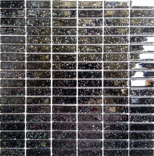 Glas Mosaik Fliesen Matte Ziegelstein Format In Schwarz Mit - Schwarze fliesen mit glitzer