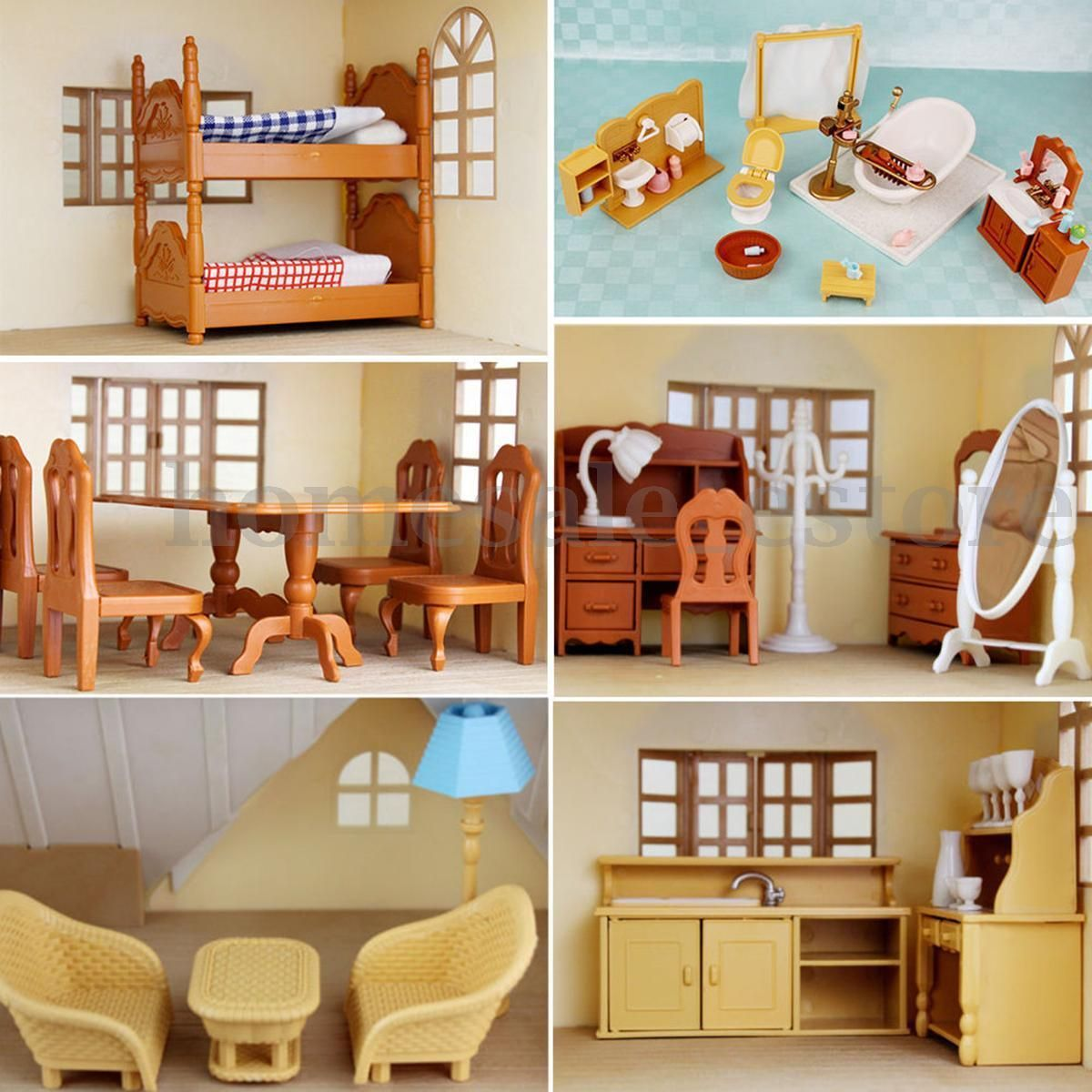 mini doll furniture. Miniature Doll House Furniture Set Kitchen Living Bathroom Kids Pretend Play Toy Mini S