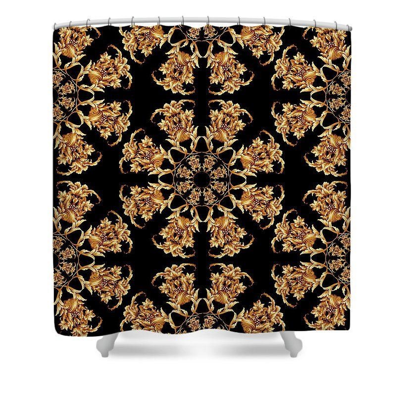 Flowers Versace Style By Vppdgryphon Shower Curtain For Sale By