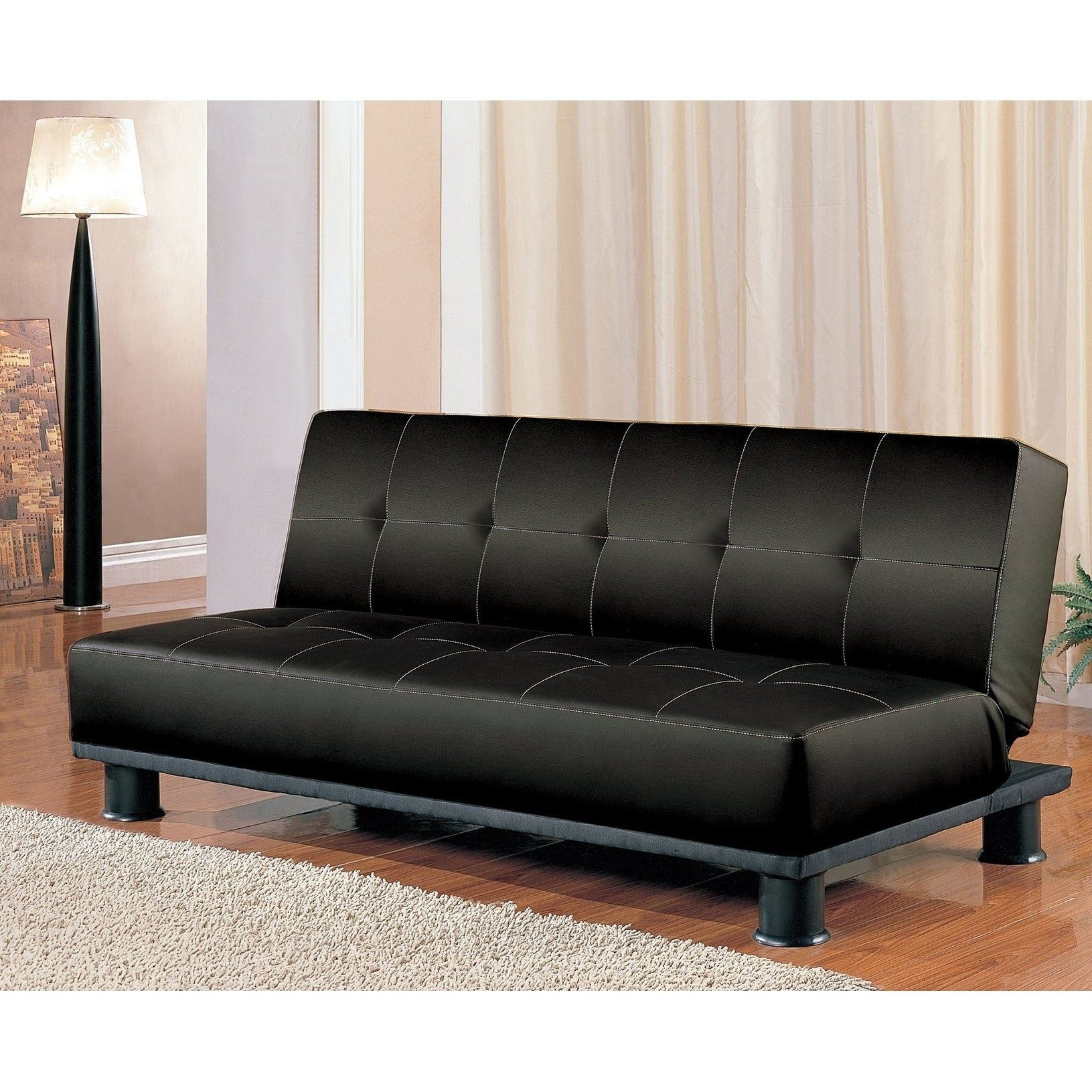 Antonio Black Leather Convertible Sofa