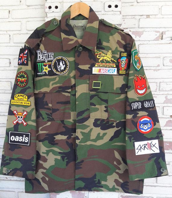 4bc08d8f46 Patch Camo Jacket   Hand Reworked Vintage Camouflage Jacket with ...