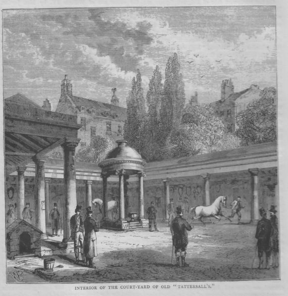Interior of the Court Yard of old 'Tattersall's, c1890 illustrated book print