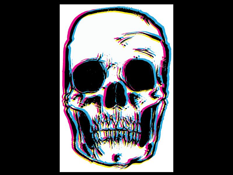 Cmyk Skull In 2021 Skull Glitch Wallpaper Skull Design