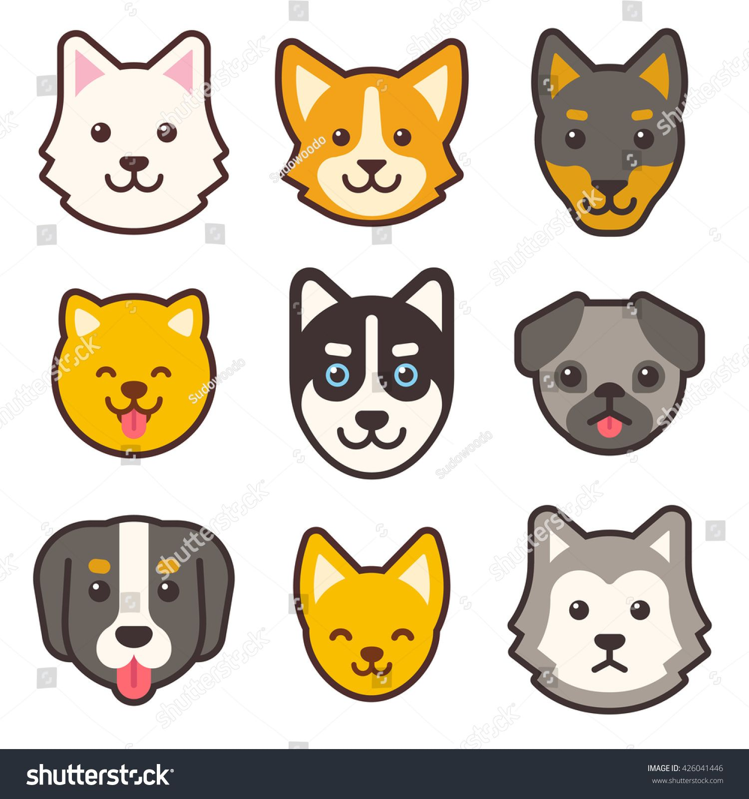 Stock Vector Cartoon Dog Faces Set Different Breeds Of Dogs Husky