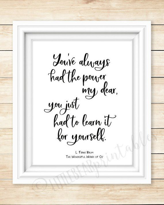 L Frank Baum Quote Printable Wall Art Youve Always Had The Power