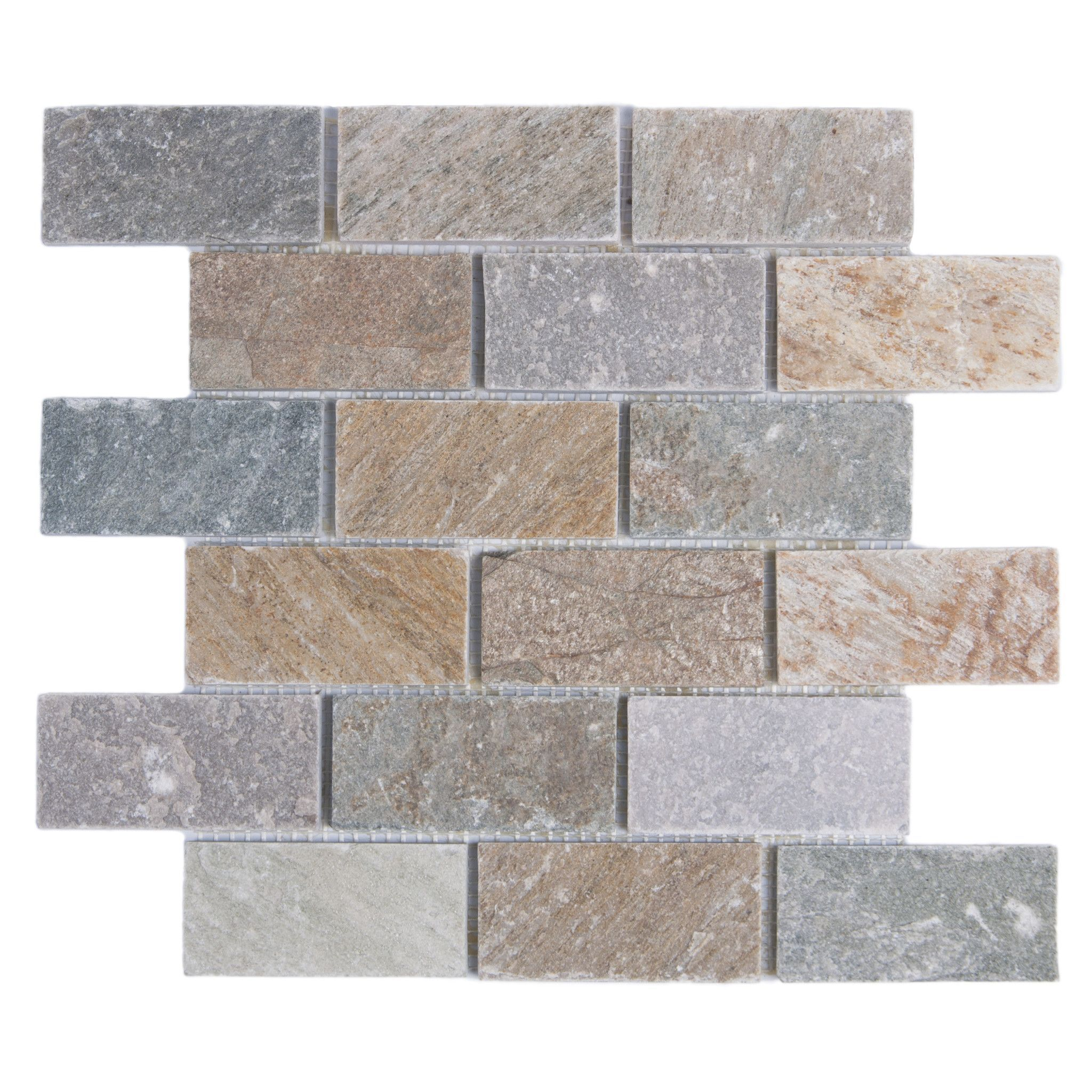 Golden Harvest Quartzite Slate Mosaic Subway Tile 2x4 Brick Pattern
