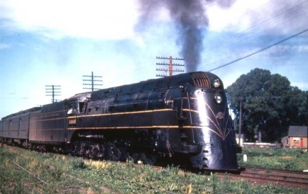 """#4006 Chicago & North Western streamlined Class E4 4-6-4. The nine engines in this class were built to pull the C&NW """"400"""". The train was dieselized before the E4's were delivered. They served in other capacities until 1953, their streamlining intact."""