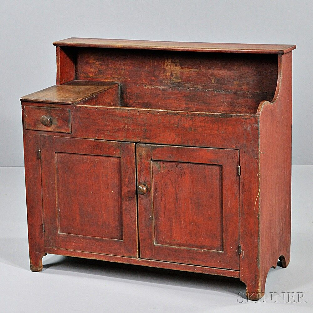 Red Painted Maple And Pine Dry Sink With Drawer New England