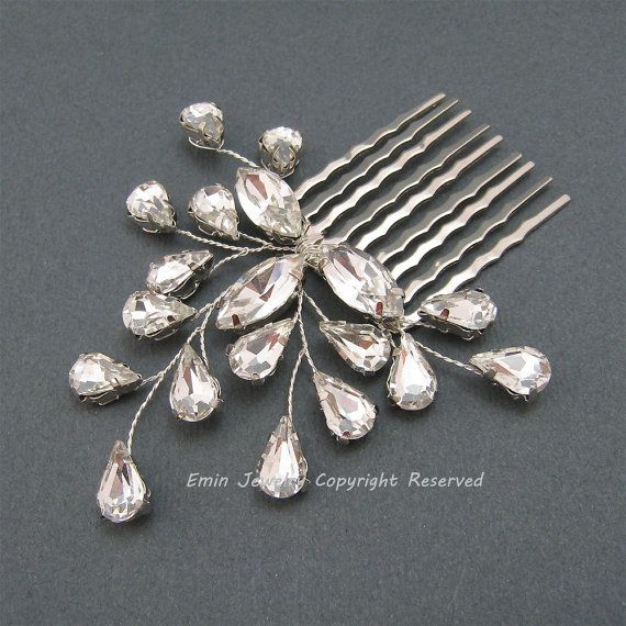 Rhinestone Bridal Comb H1015 Bridal Hair Combs by eminjewelry, $45.00