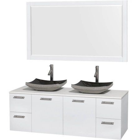 wyndham collection amare 60 inch double bathroom vanity in glossy rh pinterest nz