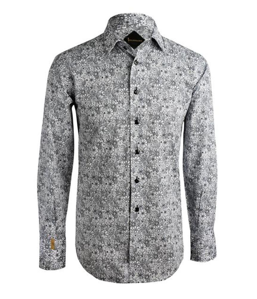 5df9ef49 Floral Shirt Ascot – Exclusively-produced of 100% superfine cotton, in grey  color