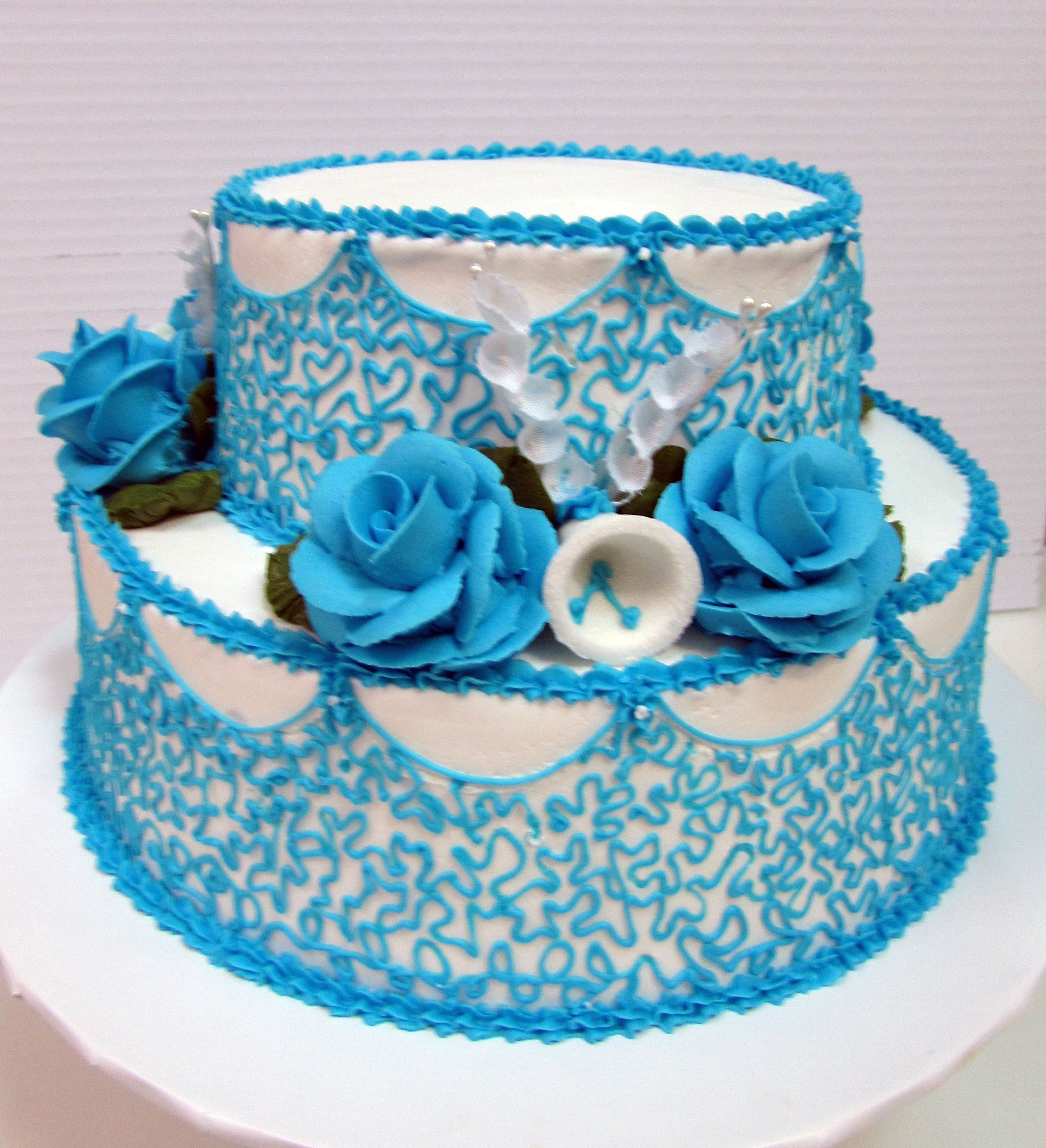 Blue roses sugar bell intricate blue scrolling on our