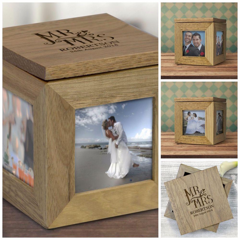 Personalised Oak Wooden Photo Box Keepsake Cube Box Engraved Picture ...