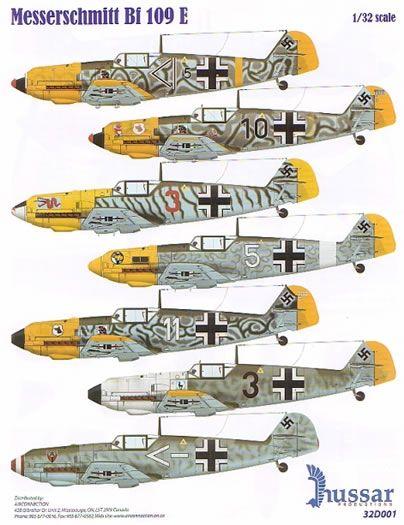 Messerschmitt Bf 109 E-4/7 Decal Preview (Hussar 1/32)