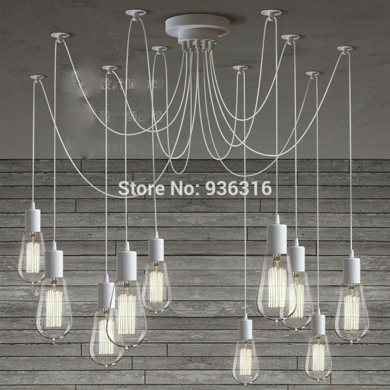 Europe du nord moderne bras rtro rglable edison ampoule diy art araigne lampe luminaire luminaire blanc lustre lustres