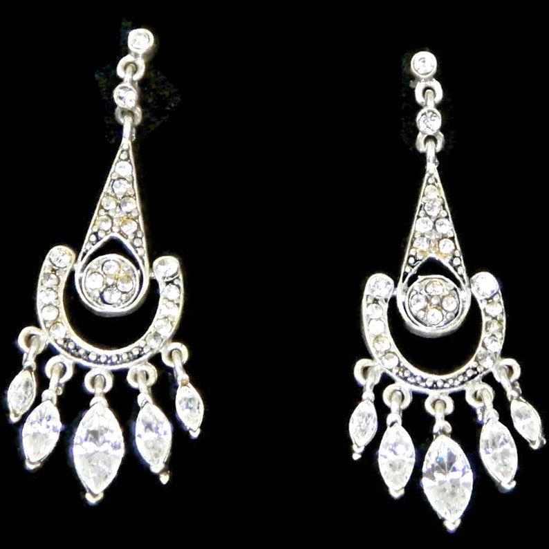 Vintage Crystal Rhinestone Chandelier Earrings Silver Tone Etsy