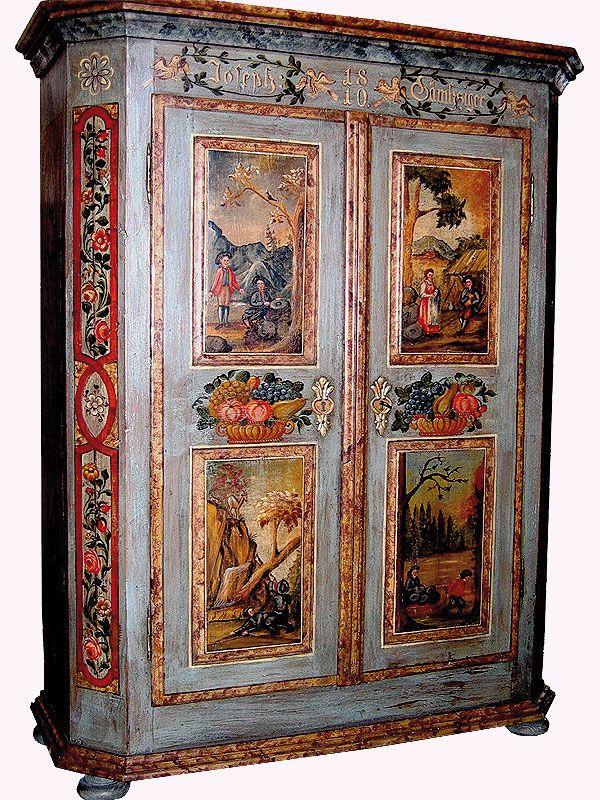 Bemalter Bauernschrank Decorative Furniture Painting Painting